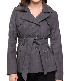 Belted Wool Blend Double Button Womens Pointed Collar Fashion Winter Jacket  #Fashion #Peacoat #Style