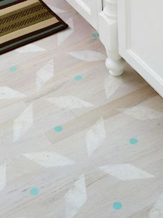 Style Underfoot  Style Underfoot  Save the expense of buying new floors by updating the ones you already have with paint. Add a couple coats of polyurethane when paint is dry to help preserve the finish. Remember that scratches can add to the character, particularly if you're aiming for a country look.  Get this free stencil pattern.