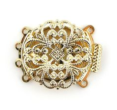 22mm Gold Plated Filigree 4 Four Multi by FancyGemsandFindings, $4.50 Jewelry Clasps, Filigree, Plating, Brooch, Gold