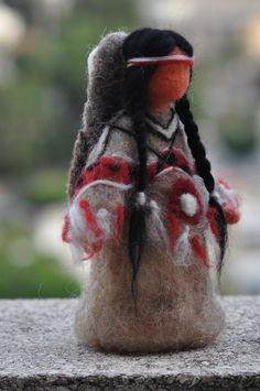 native american doll 4 - by daria. Native American Dolls, Native American Crafts, Native American Indians, American Lady, Madona, Indian Dolls, Needle Felting Tutorials, Felt Fairy, Nativity Crafts