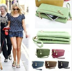 Hot new fashion lady women purse long zip wallet mobile phone bag PU handbag bag