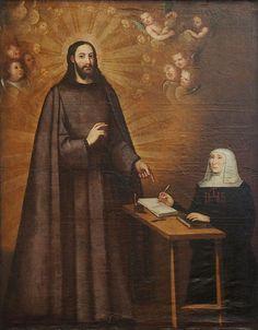 Visión de Cristo como jesuita por la venerable Marina de Escobar. Pintura de Diego Valentín Díaz. Iglesia de San Miguel y San Julián (Valladolid).