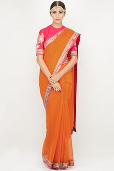 Orange thread and dori work striped handwoven saree