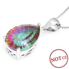 4.5ct Genuine Rainbow Fire Mystic Topaz Classics Concave Pear Pendant Only $49.99 => Save up to 60% and Free Shipping => Order Now! #Bracelets #Mystic Topaz #Earrings #Clip Earrings #Emerald #Necklaces #Rings #Stud Earrings