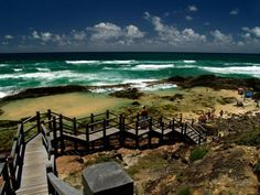 Fraser Island, stairs to Champagne Pools, Australia's landscapes - East and south, Australia, Travel/ Landscape Photography Coast Australia, Queensland Australia, Ocean Pictures, Ocean Pics, Places To Travel, Places To See, Travel Oz, Landscape Photography, Travel Photography