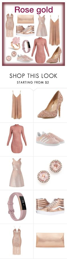 """Rose gold"" by smileyamz ❤ liked on Polyvore featuring Sans Souci, Head Over Heels by Dune, adidas Originals, Miss Selfridge, Dana Rebecca Designs, Fitbit, Vans, Rare London and Steve Madden"