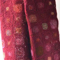 """Sophie Digard large scarf merino wool """"Geopop"""" dark red/pink"""