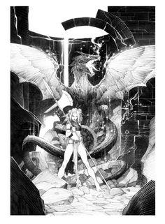 Dragonnière à la hache par Alberto Varanda - Illustration