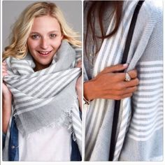 Striped Blanket Scarf Best selling print gray and white striped scarf perfect for a gift or an additional accessory to add your wardrobe . Nwot 59x59 blanket scarf can be worn many ways Vivacouture Accessories Scarves & Wraps