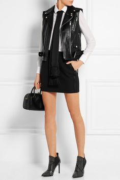 Black leather Asymmetric zip fastening through front 100% leather (Lamb); lining: 60% cupro, 40% cotton Specialist clean