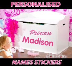 Furniture and Wall Personalised Name Stickers for Children Madison Name, Name Stickers, Personalised Box, Toy Boxes, Toy Chest, Storage Chest, Children, Kids, Names