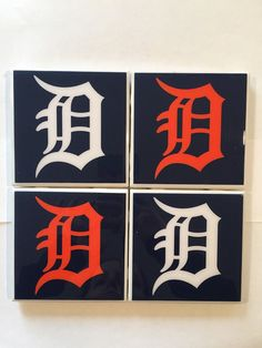 Homemade Detroit D Coasters by HashtagCoasters on Etsy