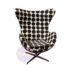Replica Arne Jacobsen Egg Chair - Black Dot