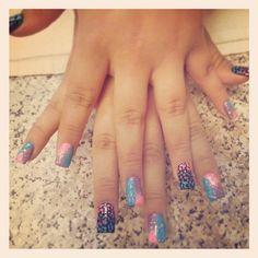 Neon cheetah nails