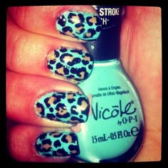 turquoise leopard nails