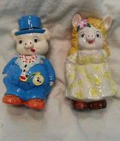 Anthropomorphic Collectable Vintage Mr. & Mrs Piggy Banks. - http://collectibles.goshoppins.com/banks-registers-vending/anthropomorphic-collectable-vintage-mr-mrs-piggy-banks/