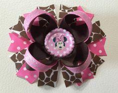 Minnie Mouse Boutique  Bow Animal Print Boutique Hair Bow Minnie Mouse  Hair Bow Minnie Mouse Animal Kingdom Hair Bow Baby Headband