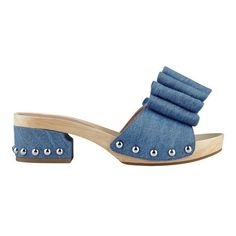 Sigerson Morrison Aida2 Retro-Inspired Slide ($250) ❤ liked on Polyvore featuring shoes, denim ocean, sandals, retro shoes, synthetic shoes, sigerson morrison shoes, sigerson morrison and wooden shoes