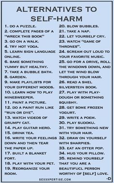 This is genius. Even though im no where near self harming i'd still do these things cos it sounds like fun ;)                                                                                                                                                     More