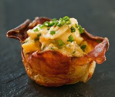 Potato Cups with Scrambled Eggs N Cheese