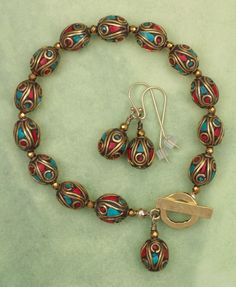 Nepalese Brass Coral and Turquoise Bead Bracelet and Earrings Set from Sundancegems Exclusively  on Ruby Lane