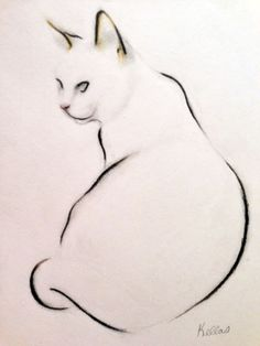 I asked my cat, Charlie, to assume a contemplative air and to think about birds she has known as I made this drawing.   I used pastel and charcoal pencil.