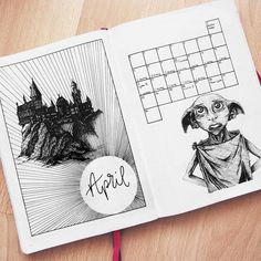 Monthly Harry Potter spread for bullet journal cover page #dobby #hp #bulletjournal #bujo