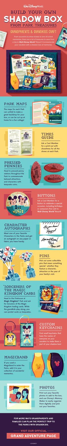 From souvenirs to show tickets to one-of-a-kind mementos, there are a lot of treasures to save from a trip to Walt Disney World Resort! Commemorate your vacation with a shadow box of Disney memories!
