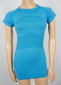 LULULEMON Run Swiftly Blue Breathable Mesh Short Sleeve Shirt 4 S X Static Top