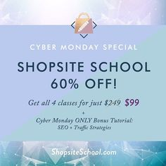 "It's the FINAL DAY of our Shopsite School sale! The 4 class bundle of Shopsite School is 60% off the lowest it's ever been or ever will be! In honor of Cyber Monday today's bonus is ""SEO and Traffic Strategies"". This is HUGE friends. SEO is not the mystery that it seems and we're so excited to teach you everything you need to know about it to boost your sales and get incredible traffic flowing to your site. . We know you have something special to offer the world and we want to help you get…"