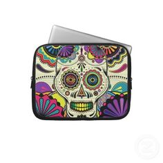 Sugar Skull Art / Day of the Dead bag Laptop Computer Sleeves by Blue Planet
