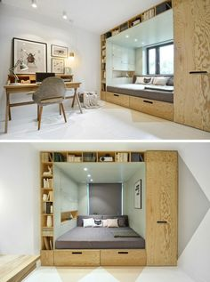 14 Inspirational Bedroom Ideas For Teenagers // Built in storage surrounding the bed makes for a cozy sleeping area and provides tons of space for all of the books and nick nacks that pile up over the years.