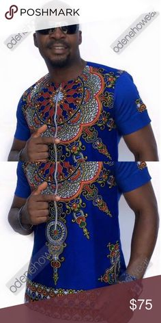 Odeneho Wear Mens Polished Cotton Top With Dashiki Design Top. Our top and bottom are usually custom made. Please email us if you have the African Attire, African Wear, African Dress, African Print Fashion, Africa Fashion, Kitenge, African Shirts For Men, Dashiki, African Design