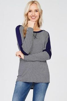 Striped Navy and Gray Knit Top Ladies Shirts Women's Tops Boutique Shop