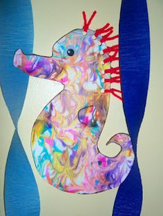 Shaving Cream Painting Sea horse