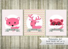 Forest Friends Nursery Wall Art  - woodland animals - pink - by PrimoCollection, $10.00
