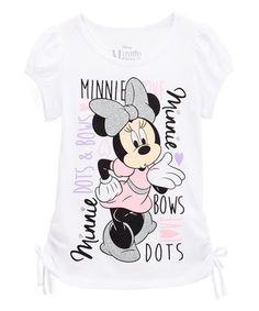 White Minnie Mouse Crewneck Tee - Girls #zulily #zulilyfinds