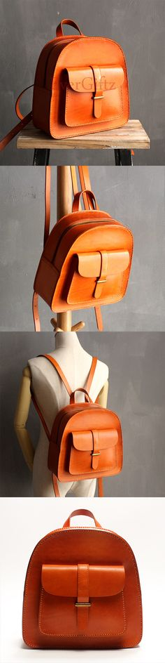 Handmade leather vintage women backpack shoulder bag satchel bag