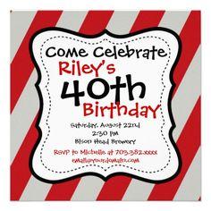 Red Black Stripes 40th Birthday Party Invitation