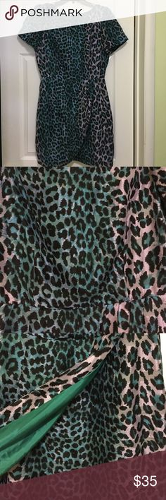 Tracy Reese leopard print multi color dress Short sleeve, back zip closure, has the look that it's a skirt over a skirt, inside is lined, fits a little over the knees Tracy Reese Dresses