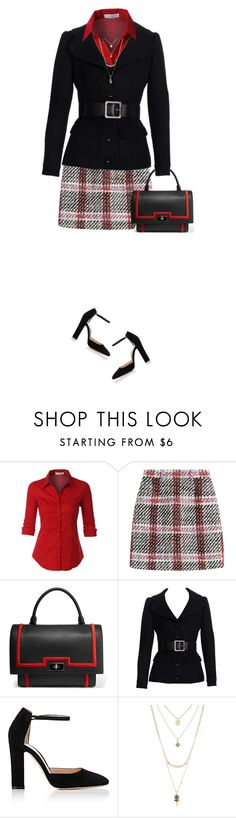 """""""Short Plaid Skirt"""" by daiscat ❤ liked on Polyvore featuring LE3NO, Carven, Givenchy, Gianvito Rossi and Charlotte Russe"""