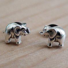 ELEPHANT EARRINGS  Sterling Silver Post Earrings by AgHalo on Etsy, $14.00