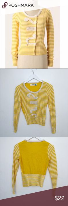 "Anthropologie Sparrow Striped Cardigan Anthropologie Sparrow yellow & white striped cardigan with great details. 100% cotton. Bust measures approx 16"" across, Cardigan is approx 20"" long. Size small. Anthropologie Sweaters Cardigans"