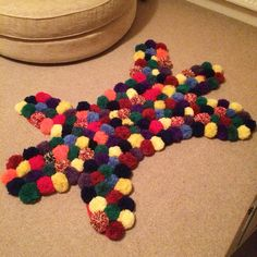 Pom Pom rug mark two is FINALLY finished! I LOVE it so...#pompom #rug #interiors…