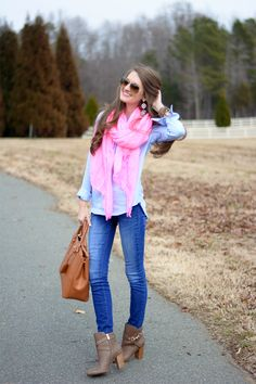Denim on Denim- love this look with the booties and pop of pink