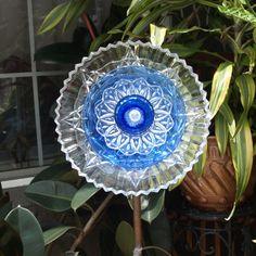 Blue Depression Glass Repurpose Plate Flower by ARTfulSalvage, $42.00