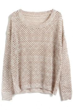 Hollow-out Batwing-sleeve Apricot Jumper
