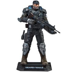 """McFarlane Toys Gears of War 4 Marcus Fenix Collectible Action Figure, 7"""". 7"""" scale figure packaged in a collector edition window box. Figure includes customized Lancer Assault Rifle and Snub Pistol sidearm. Designed with 14+ points of articulation for dynamic posing. Figure is featured on a stylized brand specific display base."""