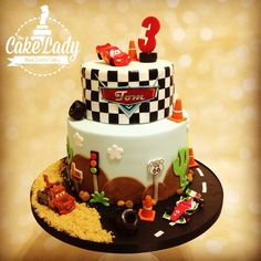 A two tiered Disney Cars cake for Tom& birthday. Disney Cars Cake, Disney Cars Birthday, Cars Birthday Parties, Disney Cakes, Disney Pixar, Gateau Flash Mcqueen, Beautiful Cakes, Amazing Cakes, Lightning Mcqueen Cake