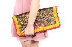 Two Tone Hill Tribe Clutch Handmade in Thailand #tribalbags #ethniclanna